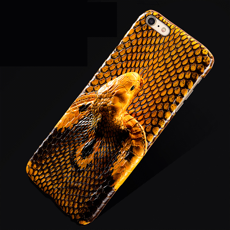 Wangcangli brand phone case snake head back cover leather phone case for iphone X phone case all handmade custom processing in Half wrapped Cases from Cellphones Telecommunications