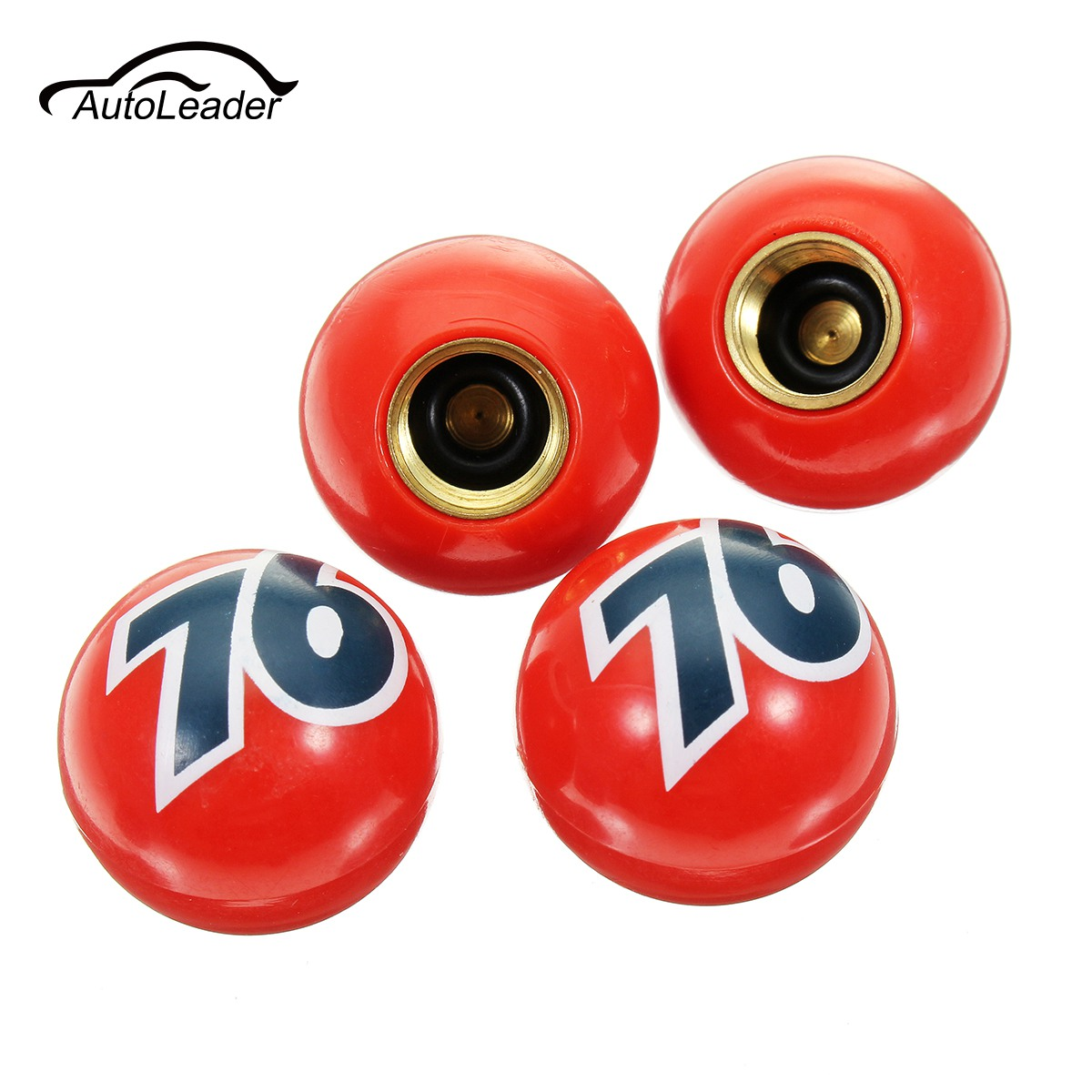 4Pcs Car Bike Tyre Tire Air Valve Stem Dust Caps Universal Cover For Car Bike Red Number 76 Ball Plastic Sphere