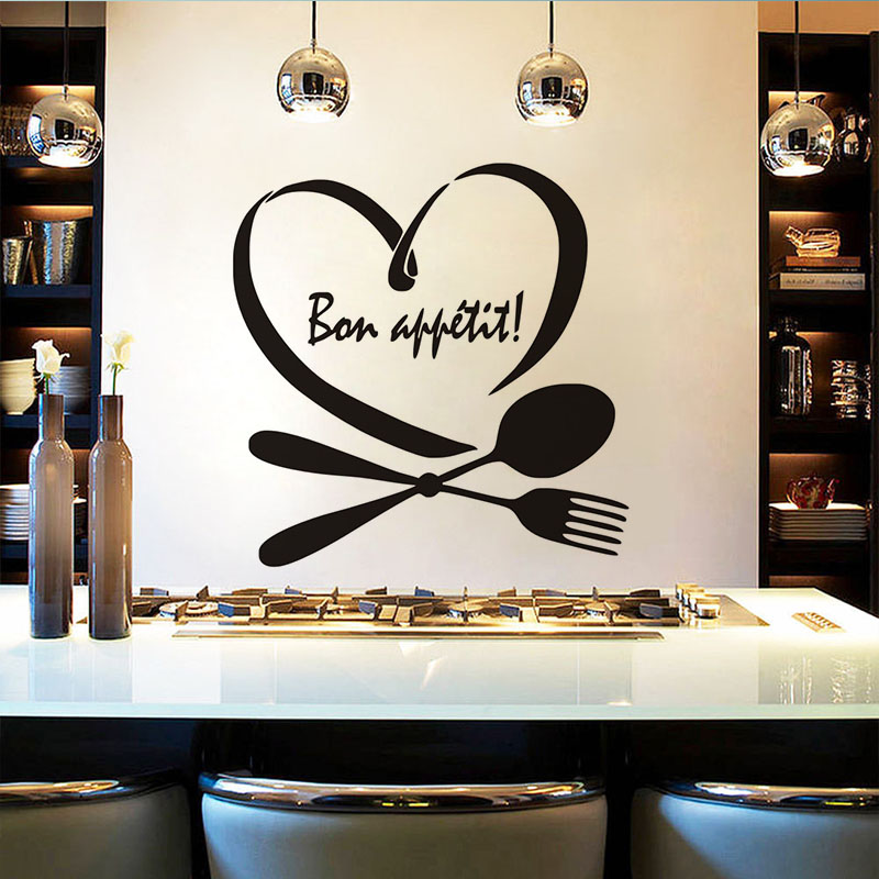 Bon Appetit Quote Wall Sticker French Diy Vinyl Waterproof Wallpaper For Kitchen Art Home Decor Dining Room Decoration