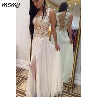 Simple Evening Dresses A Line Chiffon White Lace Appliques Floor Length Sleeveles Evening Gowns Custom Made Vestido de noche