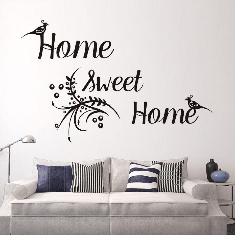 Wall stickers home sweet home - Wall Decal Home Sweet Home Font Art Sticker Bird Flower Pattern Vinyl Removable