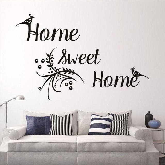 Wandtattoo, Home Sweet Home Schrift, Vogel Blumenmuster, Vinyl Removable  Wandaufkleber Diy Schlafzimmer Wohnkultur