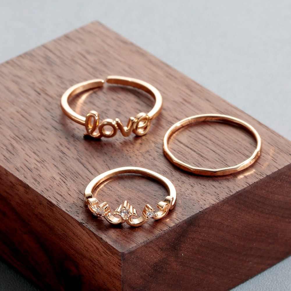 Cxwind Bohemian แหวนทอง Charm คริสตัล Joint Knuckle แหวนชุดสำหรับนิ้วมือผู้หญิงเครื่องประดับ anillos ขายส่งจำนวนมาก bulk