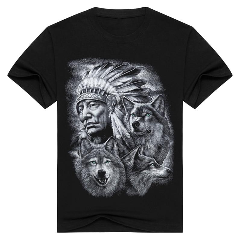3b5dc26213 3d farkas póló férfi márka 3D indiánok farkas nyomtatott pólók Pamut ...