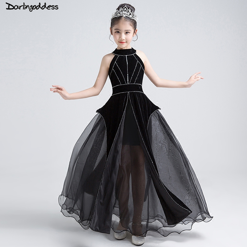 2018 New Black Elegant A Line   Flower     Girls     Dresses   Beaded Zipper Back First Communion Gowns for   Girls   Pageant   Dress   Prom Gown