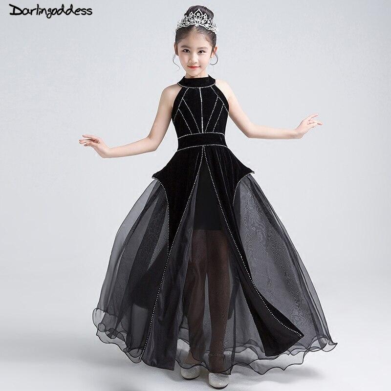 2018 nouveau noir élégant une ligne fleur filles robes perlées Zipper retour première Communion robes pour filles robe de reconstitution historique robe de bal