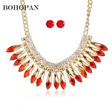 Fashion Jewelry Set Crystal Necklace&Stud Earrings Alloy Jewelry Accessories Indian Style Big Pendant Necklace Wedding Bijoux цены
