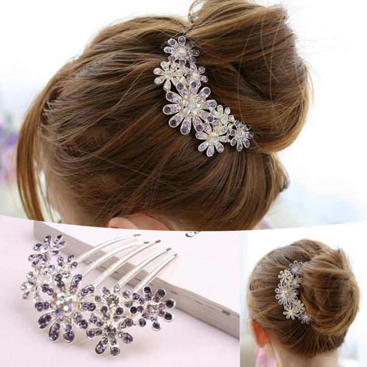 New Women Beautiful Crystal Decorate Petal Tuck Hair Comb Flower ...