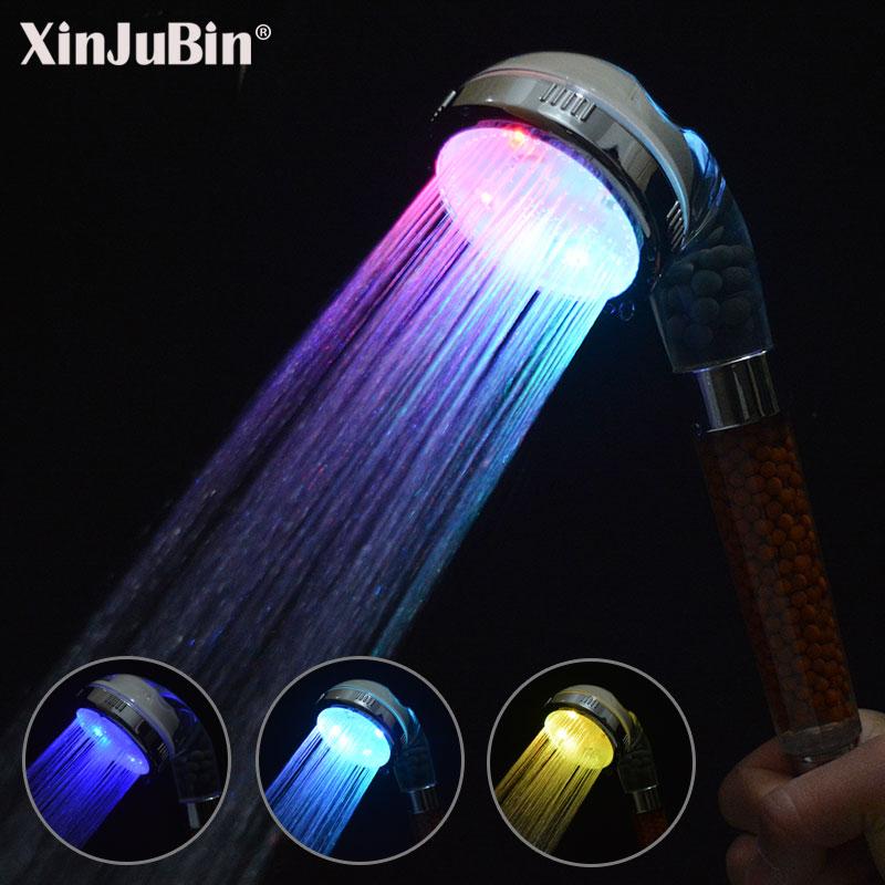 bathroom accessories high pressure spa anion filter handheld bath shower water saving colorful LED shower head цена