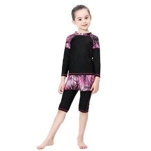 Image 3 - Милый исламский купальный костюм для девочек, купальник с длинными рукавами, детский купальный костюм с плиссированной юбкой, купальник с полубрюками, 2020