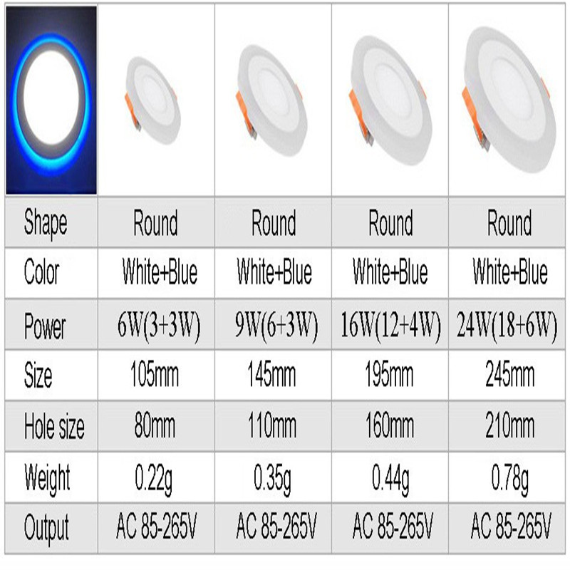 Dual Color Round Panel Downlight Size