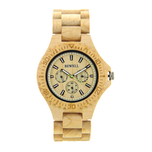BEWELL Hot Sell Men Dress Watch Quartz Mens Wooden Watch Wood Wrist Watches Natural Calendar Display Bangle Gift Relogio 116B все цены
