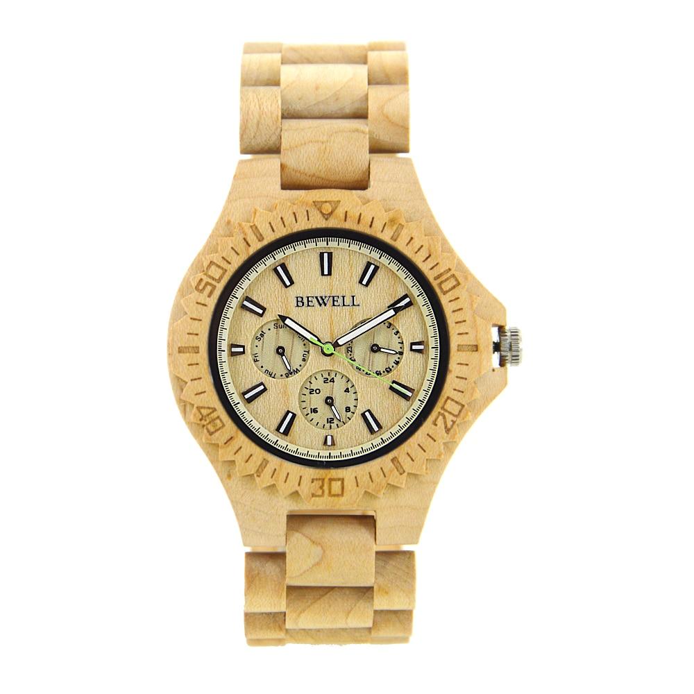 BEWELL vente chaude hommes robe montre Quartz hommes en bois montre en bois montres bracelet calendrier naturel affichage bracelet cadeau Relogio 116B