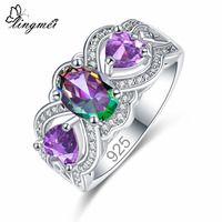 Lingmei Engagement Fashion Cocaktil Oval Heart Jewelry Purple & Multicolor & White & Red & White Zircon Silver Ring Size 6 7 8 9
