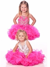 Unique Fashion Ball Gown Flower Girl Dresses With Spaghetti Jeweled Ruffles V-Bodice Short Pageant Dress For Girls Zipper 2018 pink flower girls dresses spaghetti straps ball gown ruffles organza pageant dress for girls long girl dresses for wedding