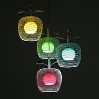 Yaratıcı Avize Moda Kolye Renk Apple Demir Cam 4 Beyaz LED Restoran Restoran Aydınlatma Işıklı ZA623 ZL174
