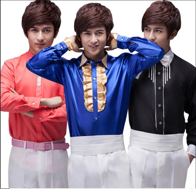 Las tarifas más ventas! 2015 primavera nuevos hombres de gran tamaño de la moda brillante con lentejuelas encaje camisa de manga larga camisa representaciones teatrales