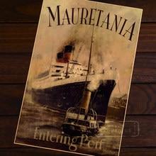 Mauritânia Vela Noite Partida do navio de cruzeiro Do Vintage Clássico Retro Cartazes das Etiquetas Da Parede Da Lona Poster Decorativa DIY Home Deco
