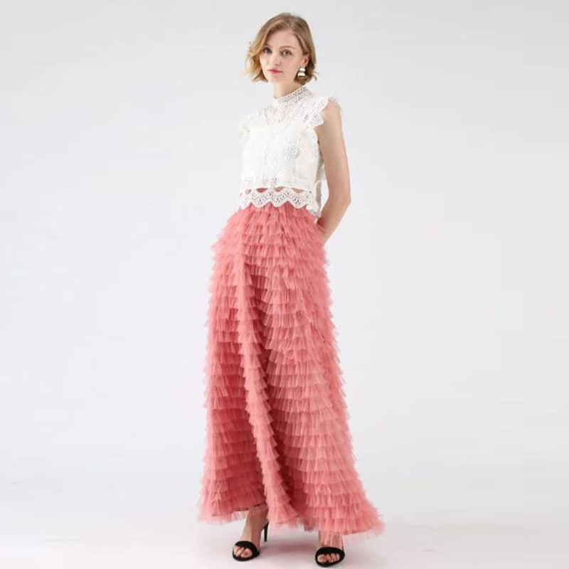 Women s Skirts Rouge Pink Tiered Pleated Ankle Length Tulle Skirts Women Maxi Skirt New Design