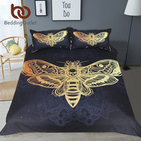 BeddingOutlet Death Moth Bedding Set Skull Duvet Cover Set Black and Golden Home Textiles for Adults Butterfly Gothic Bedclothes