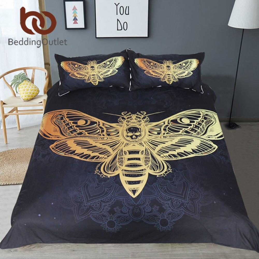 Постельное белье Outlet Death Moth, Комплект постельного белья с черепом, пододеяльник, набор, черный и золотой домашний текстиль для взрослых, Бабочка, готическое постельное белье