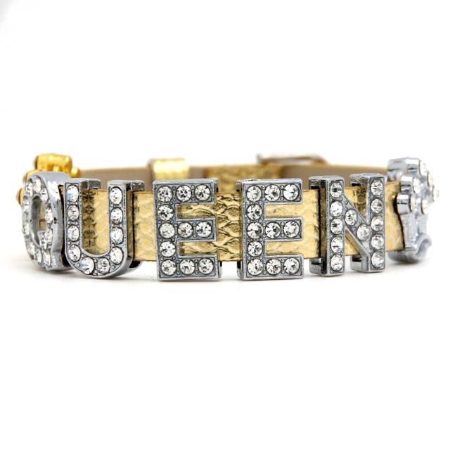Fashion Gold Color Wristband Queen Letter Rhinestone Slide Charm Bracelet For Accessory Scb047