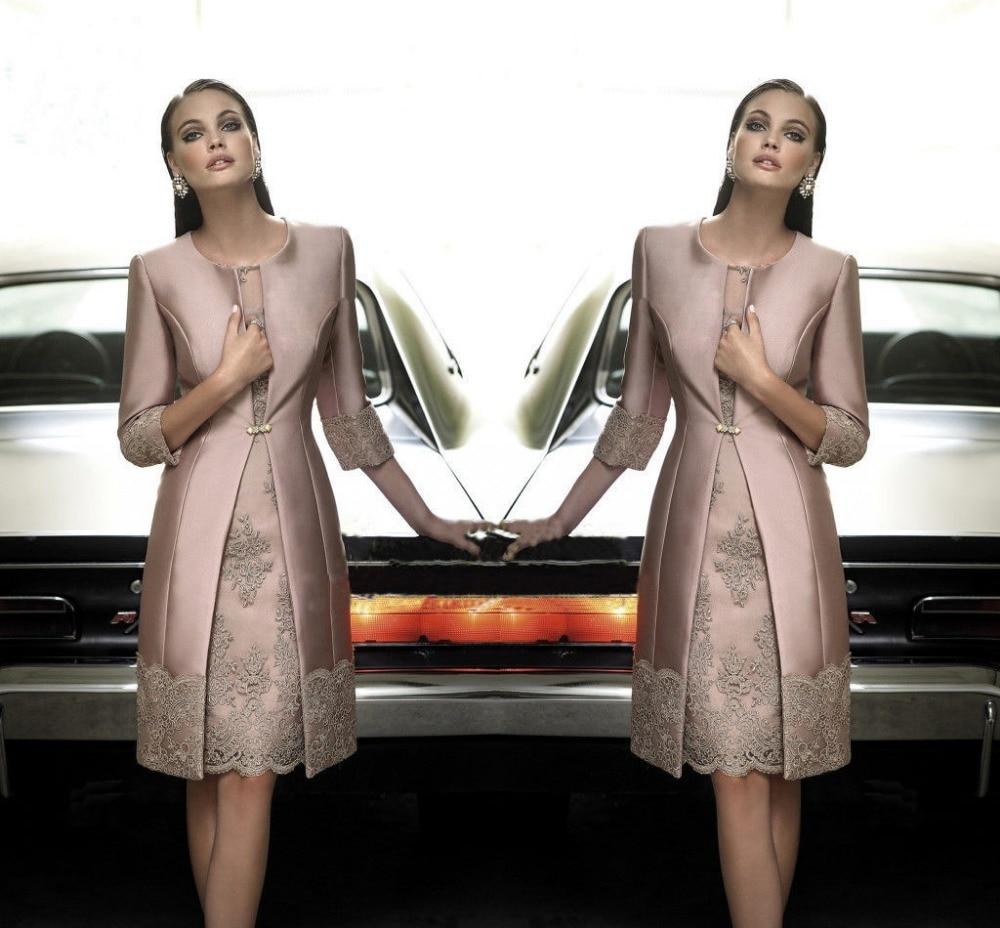 Formal Attire For Women Wedding: Elegant Knee Length Mother Of The Bride Dresses With Coat