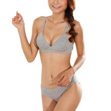 Women Bra Sets Lingerie Girls Lady's No Rims Glossy Bras Underwear Push-Up Padded Cotton Brassiere + Panties