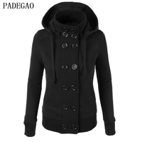PADEGAO Black Double Breasted Slim Jacket Hooded Autumn Winter Cardigan Thick Coat Women Plus Size Knit