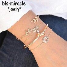 купить Bls-miracle Vintage Gold Color Top Newest Fashion Accessories  Leaf Tie  Round Shape Bracelet Set For Women Girl WholesaleBA-211 по цене 124.4 рублей