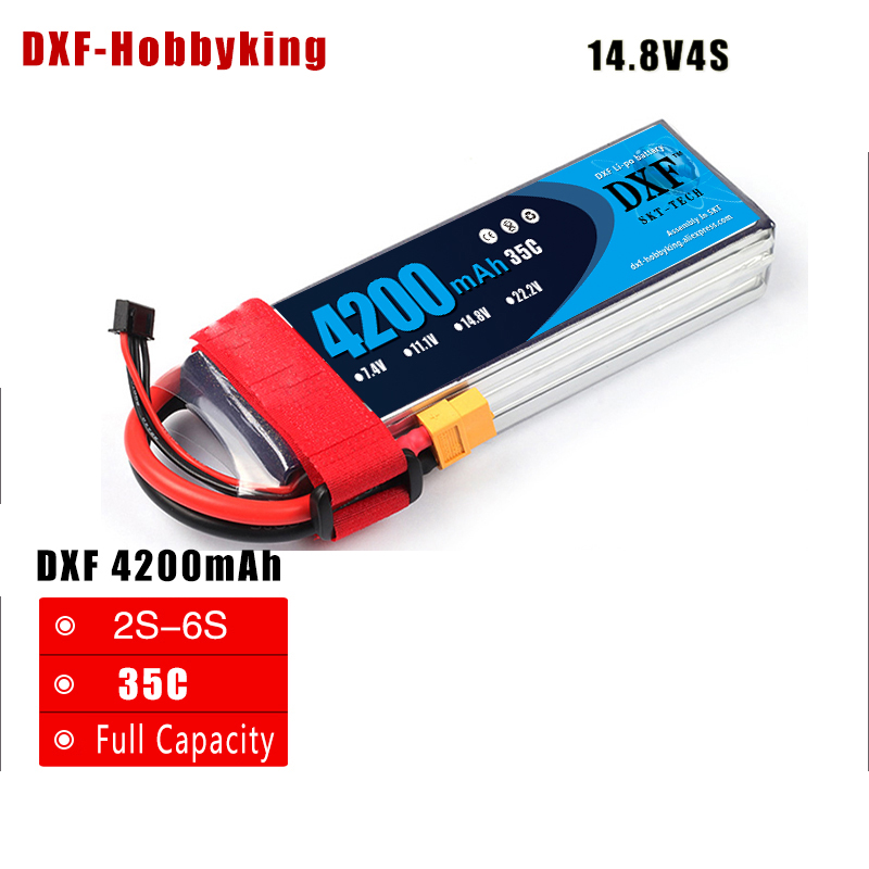 2017 DXF Good Quality Lipo Battery 14.8V 4S 4200MAH 35C max60C RC AKKU Bateria for Airplane Helicopter Boat FPV Drone UAV 2017 dxf good quality lipo battery 11 1v 3s 4200mah 45c max90c rc akku bateria for airplane helicopter boat fpv drone uav