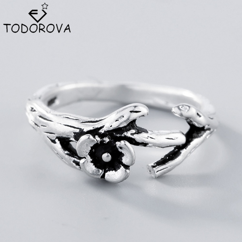 Todorova 925 Sterling Silver Rings For Women Fashion Flowers Tree Branches  Open Ring Hypoallergenic Sterling