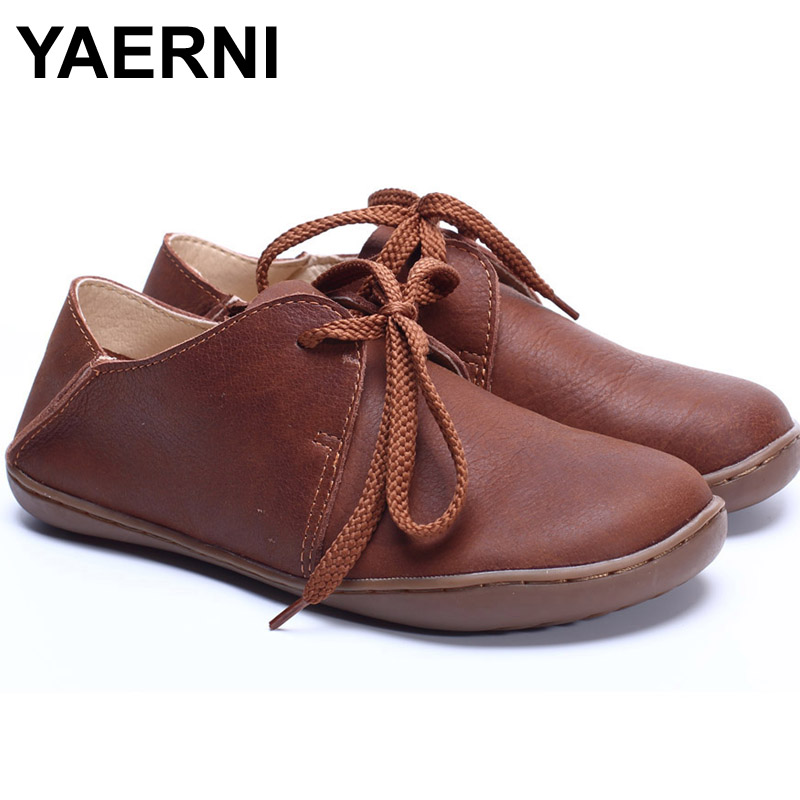 YAERNI (35-42) Women Shoes 100% Authentic Leather Round toe Lace up Ladies Flat Shoes Slip-resistance rubber sole Female Shoe 2016 women leg cross lace up single flat gold silver shoes lady pointed toe sole single shoes hot female stra shoes 35 39