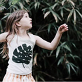ins* 2016 unisex baby girls boys cotton sleeveless T-shirts leaf pattern kids summer top cloth fashion high quality 1-6Y