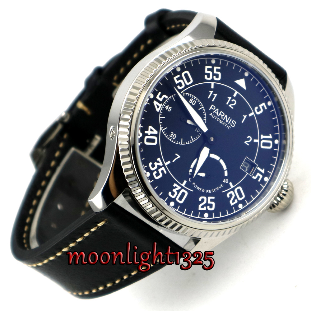 45mm Parnis black dial date window <font><b>ST2530</b></font> Automatic Movement Mens Watch image