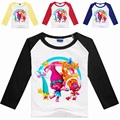 Muchachas del resorte Trolls Tops Niños 4 Colores Amapola Tes de la Historieta Niños de La Manera Ropa de Manga Larga camiseta de La Princesa Trajes de Disfraces