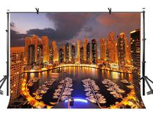150x220cm Dubai Night View Backdrop Brightly Lit City Photography Background for Camera Photo Props