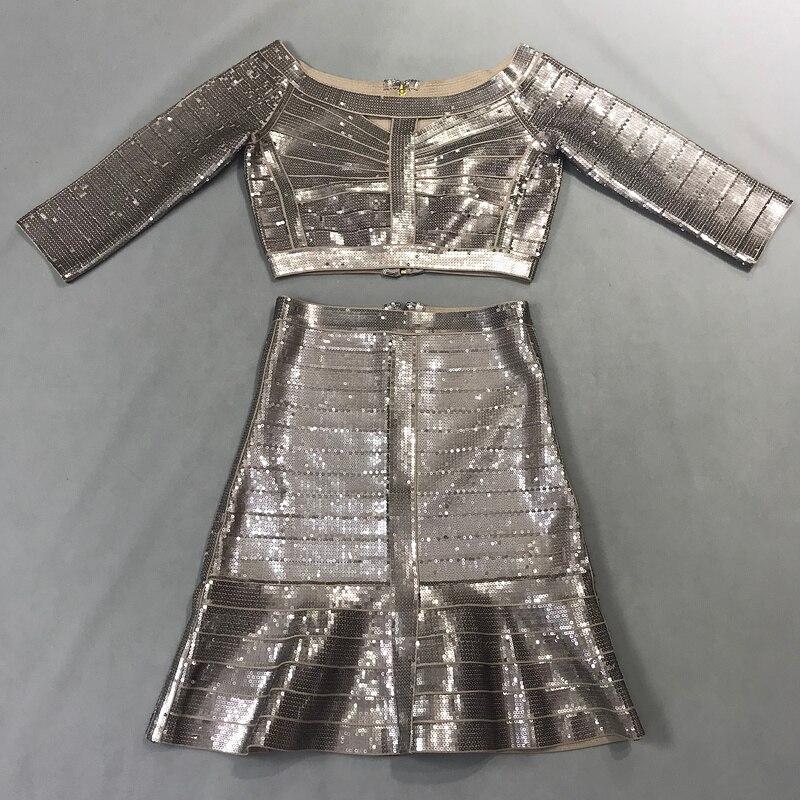 Manches Courtes Glitter Crop Argent Trois Pièce Paillettes Partie 2018 Bandage black 2 Ensembles De Sexy Silver Jupe Mode Robe Quarts Femmes Noir Top Zqa4v4