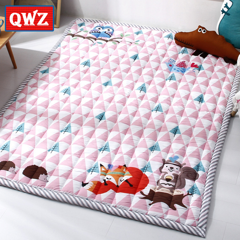 QWZ 140X195 см детские коврики Play 2,5 см утолщение мультфильм животных Фокс Слон Одеяло детская игра ковер машины стирка ковров