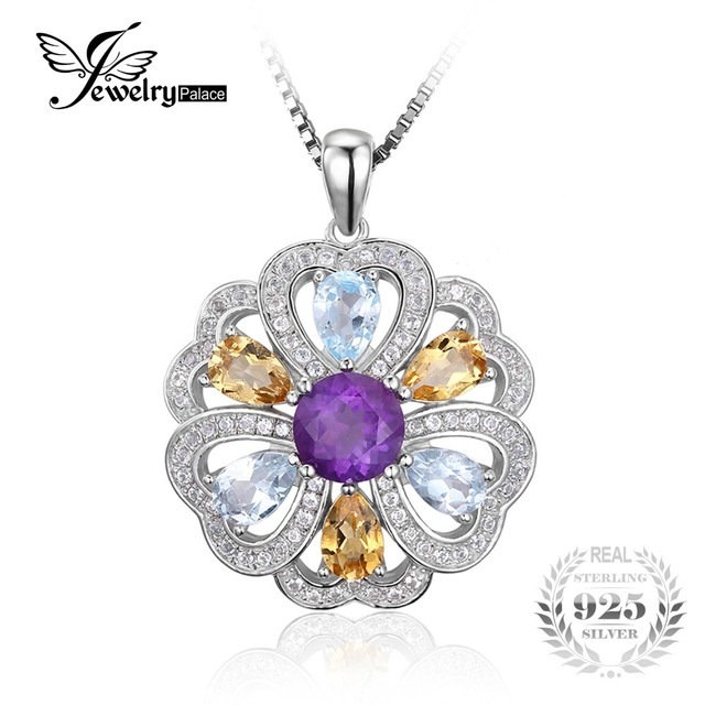JewelryPalace Flower Heart 4.1ct Natural Amethyst Citrine Sky Blue White Topaz Pendant 925 Sterling Silver Not Incluede A Chain