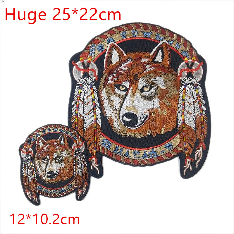 Set Of 2 Wolf Rock Patch And Roll Punk Band Jacket Patches For Clothing Embroidered Patch For Backpacks For Jeans