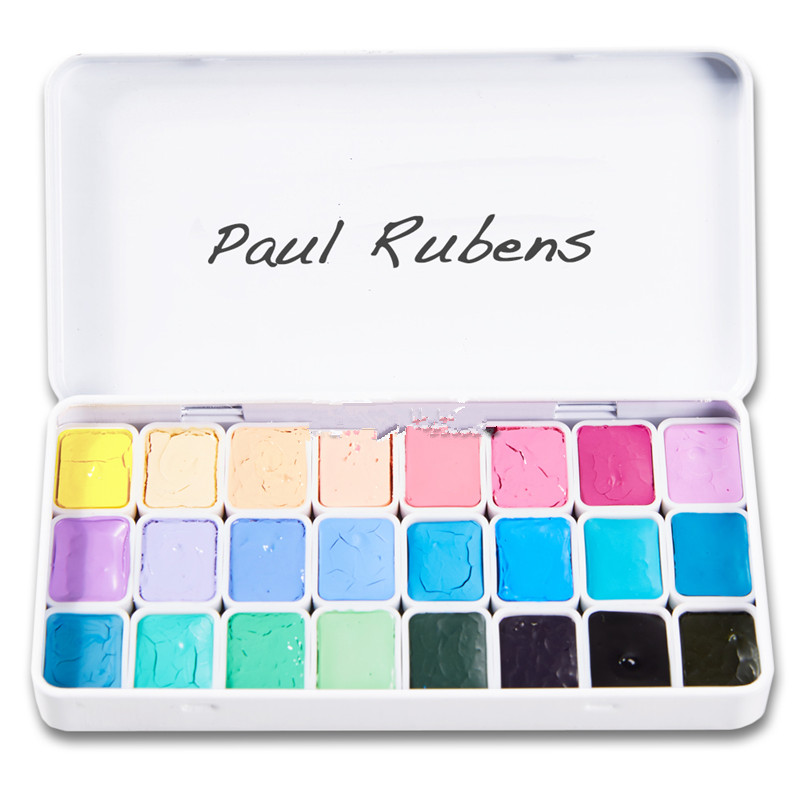 0 8ml mini iron box Rubens 24 color watercolor paint candy color new color base color beginner packaging free shipping in Paint By Number Paint Refills from Home Garden
