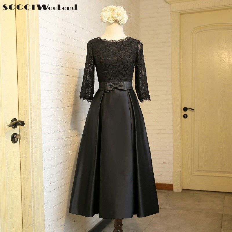 SOCCI Weekend 2018 Black Elegant Lace Satin   Cocktail     Dress   Muslim Zipper A-line Formal Wedding Party Reception Prom   Dresses   Robe