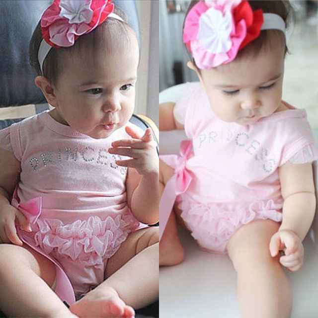 Infant Toddler Baby Girls Princess Lace Floral Romper Jumpsuit Casual Clothing Outfits Short Sleeve Sunsuit Set
