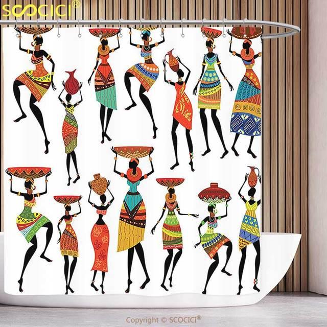 Afrique Rideaux de Douche Sketchy graphique Danseur