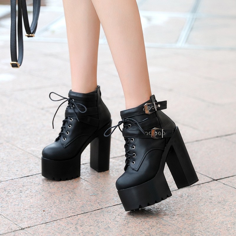 Fashion Black Martin Boots Women Spring Autumn Lace-up Soft Leather Platform Shoes Woman Party Ankle Boots High Heels 14CM SD-35 sexy high heels boots women autumn winter ankle boots platform lace up round toe ladies martin boots woman stiletto pumps 14cm