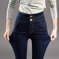 Новые Высокие Упругие Женские Джинсы плюс размер Завышенной Талией студенческие брюки женщина роковая промывают карандаш брюки Джинсовые 26-34 HS1609