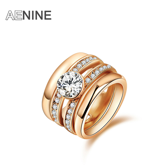 AENINE Brand Luxury Rings Micro Cubic Zirconia Rhinestone Ring Rose Gold Color F