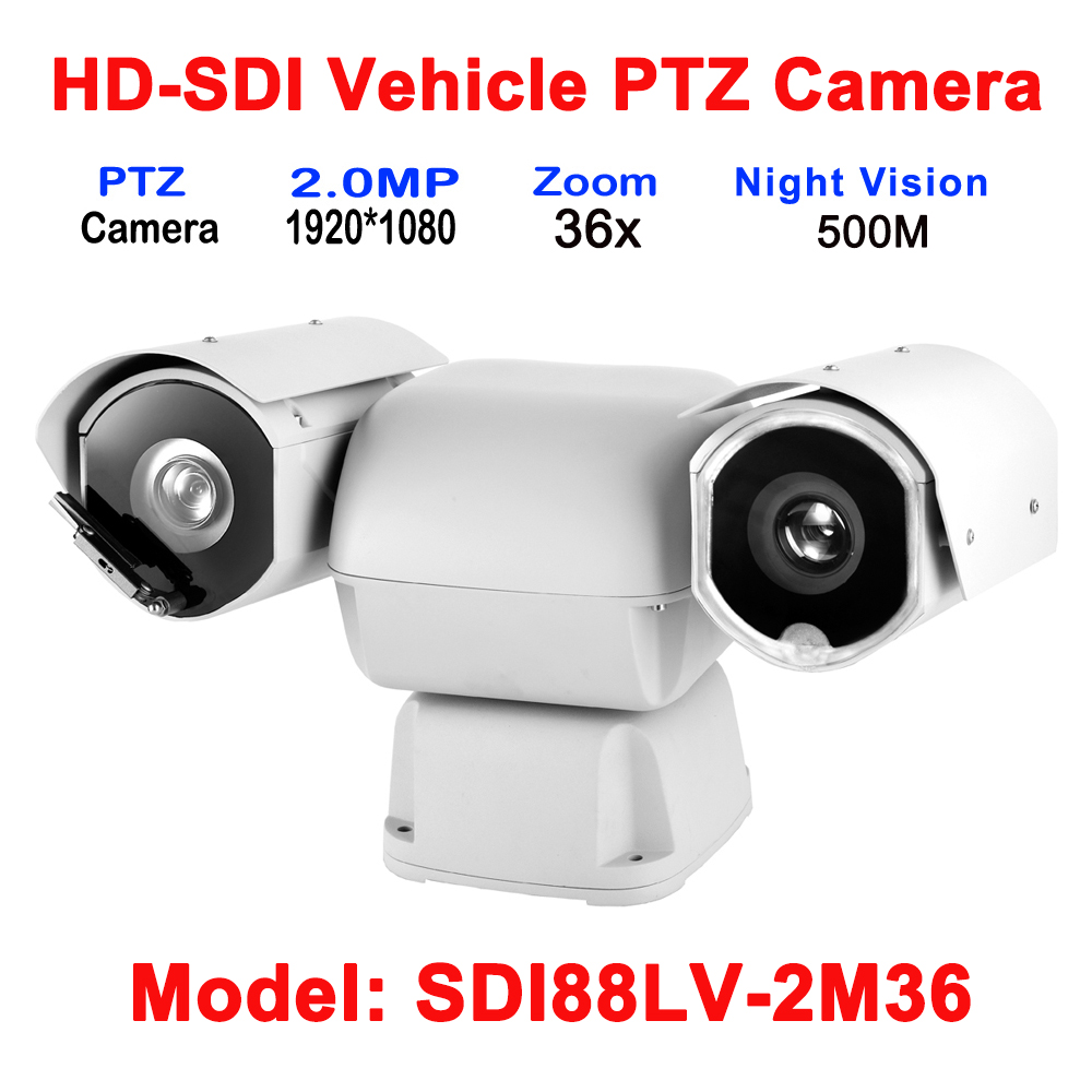 2MP 1080p Laser IR 500M HD-SDI outdoor PTZ Security Vehicle Car Bus Boat Camera 36x Optical Zoom ICR True Day/Night DC12V Power 2mp ir 100m far focus 40x optical zoom hd sdi ptz outdoor security vehicle camera 1080p with audio alarm rs485 function