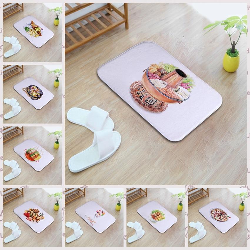 Delicious creative food design 40*60cm Entrance Indoor Coral Fleece Non-slip Floor Mat Doormat